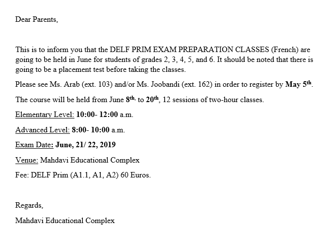 DELF PRIM preparation classes